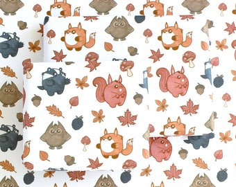woodland animals wrapping paper, gift wrapping, paper, paper goods, wrapping sheets, woodland animals, scrapbooking paper, decorative paper
