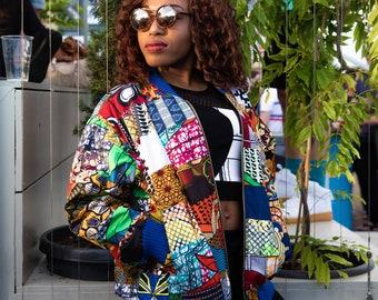 Patchwork Jacket Ankara Bomber jacket Wax Bomber Jacket 90s Bomber Wax Print Bomber Ethnic Clothing Festival Clothing Festival Jacket
