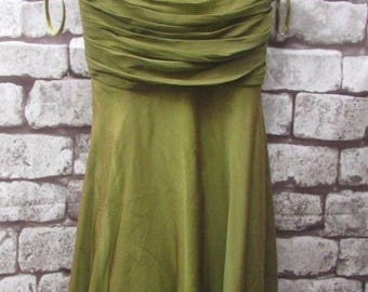 gorgeous silk MONSOON olive green silk DRESS size16uk -lined, strappy, ruffled waist detail,lined