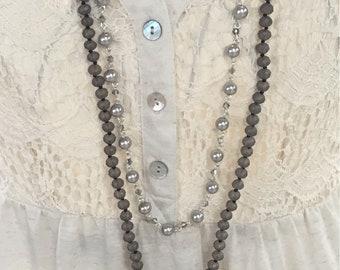 Gray cross long necklace set
