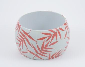 Bracelet TROPICAL CORAL & GREY - leaf -  exotic - tropical - bangle - summer jewels - minimalist -