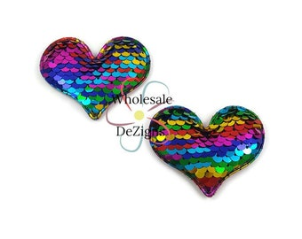 "Reversible Heart Sequins - Rainbow & Gold Hearts Padded Appliques 1.5"" Fabric Back Puffy Embellishment DIY Hair Clip - 2 Pieces"