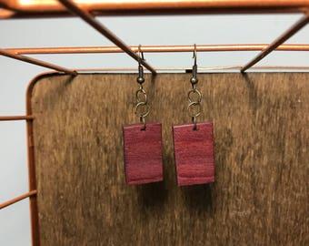 Purple Heart Wood Earrings -