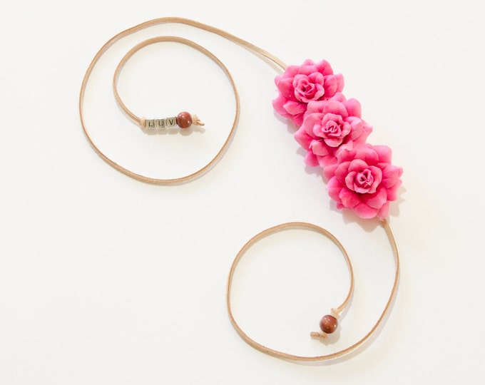 Dark Pink Rose Side Flower Crown