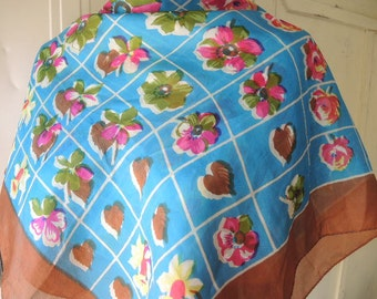 Vintage 1950s scarf silk abstract floral flowers checkerboard  32 x 34 inches