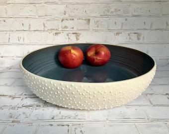 Studded large pottery bowl - made to order - large fruit bowl - wheel thrown fruit bowl - large serving dish - modern pottery - ceramic bowl