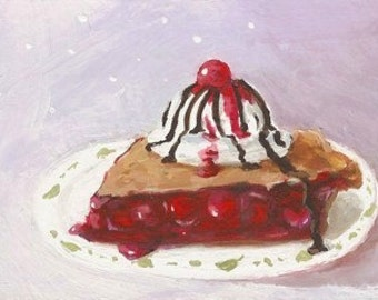 Original Mini Painting * CHERRY PIE With Ice Cream * ACEO Small Art Format by Rodriguez