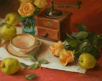 Coffee Time, Framed, Coffee Machine, Apples, Rosed, Still Life Original Oil Painting, Ling Strube