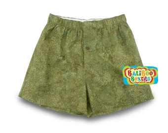 Olive Green Boxers, Handmade Boxer Short, Hand-dyed Cotton Boxers, Green Nature Print, Baliboo Boxers
