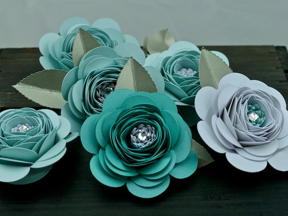 Set of 6 Pearlescent Card Roses