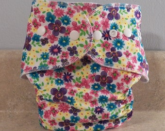Fitted Large Cloth Diaper- 20 to 30 pounds- Pink Flora- 19010