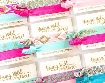 Young Wild & Three Birthday Party Hair Tie Favors   Boho Birthday Party Hair Tie Favors, Bohemian Feather Arrow Aztec Tribal Print Hair Ties