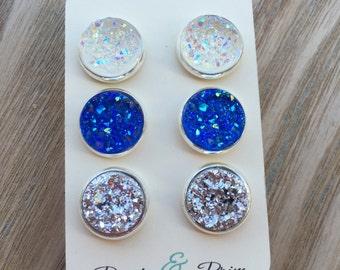Druzy Earrings, Set Of Three, Dark Blue Druzy, 12mm, Silver Druzy Earrings, Clear Druzy Studs