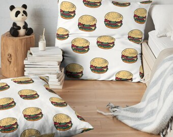 Burgers Throw Pillow , White Accent Pillow , Burger Pillow Case , Burger Pillow , Burger Decor , Home Decor , Burger Cushion , Hamburger