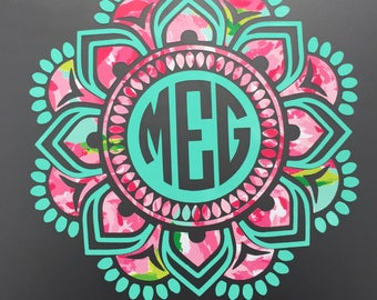 Mandala decal-Mandala Monogram decal-car-yeti- cooler- laptop- planner- macbook