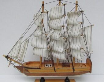 Vintage Mid Wooden Three-Masted Sailing Boat, Wooden Ship, Ship Souvenir, Model Sailing Ship, Collectibles Wooden Sailboat, Sea Souvenir