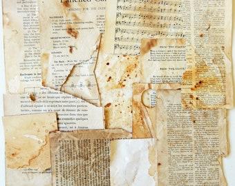 Coffee and Tea Dyed Vintage Paper Scraps, Paper Ephemera, Supplies, Scrapbooking, Mixed Media, Collage PE377