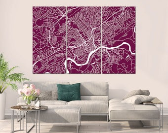 Knoxville Tennessee, City Map, Canvas Print, Wall Art, Multi panel