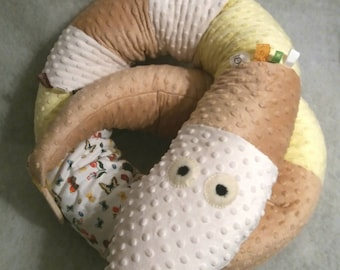 Baby bed crib bumper snake pillow