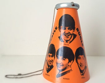 Ultra Rare Beatles 1965 Concert Megaphone, Beatles Fan Father's Day Music Gift, Yell-A-Phone Collectible Beatle Bugle w/ Mouthpiece & Chain