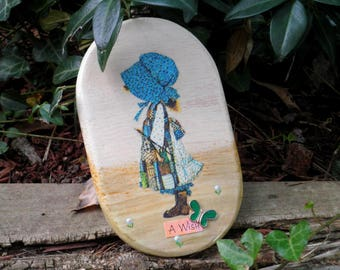 Vintage Holly Hobbie Wish Wall Hanging / Plaque - Classic Holly Hobbie Blue Bonnet Collage Art - Pioneer Girl & Butterfly Home Decor Gift