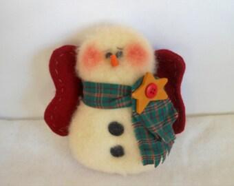 Snowman Ange, Felt Ornament, Snowman Ornament, Holiday Decor, Christmas Decor