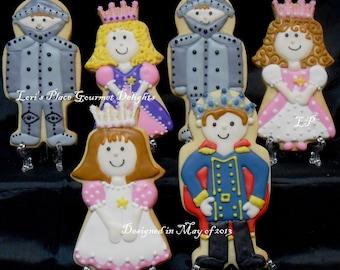 Night and Shining Armor Cookies - Prince Cookies - Princess Cookies - 12 Cookies Total