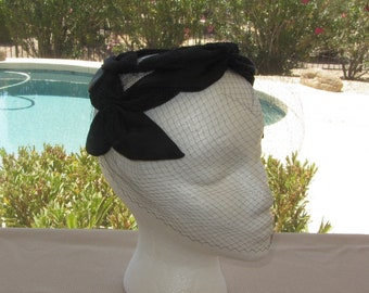 Vintage 50s – 60s Hat, Black Casque Style Woman's Hat, Steger Design for May-D&F