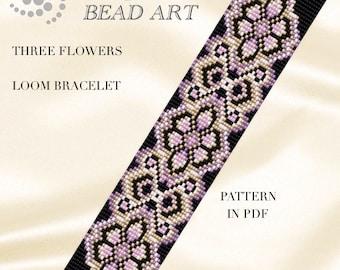 Bead loom pattern - Three flowers LOOM bracelet pattern in PDF - instant download