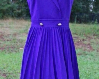 Vintage 1960's Purple Pleats Dress Size Small/Medium