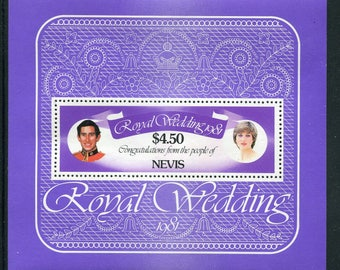Princess Diana Royal Wedding Souvenir Sheet /Unused Issued  in Nevis
