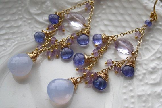 Chalcedony Tanzanite Chandelier Earrings Boho Chic Gemstone Chandelier Gypsy Earrings