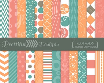 Melon and Teal Digital Scrapbook Paper Pack