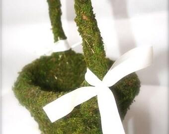 Moss Covered Flower Girl Basket