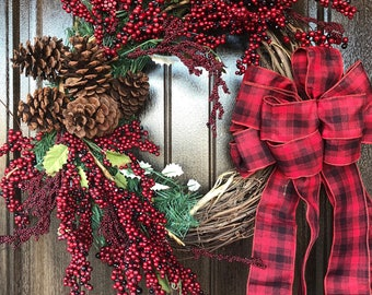 Winter Wreath Buffalo Check Bow