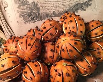 Clove Studded Slit Oranges Set of 6 - Botanical - Home Decor - Citrus