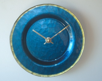 9 Inch Deep Blue Glass Plate Wall Clock, Kitchen Wall Decor, Unique Wall Clock, Deep Ocean Blue and Brass Clock - 2502