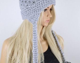 Hat, Knit hat, Chullo, Ear Flap Hat, Pom Pom Hat, Winter Hat, Handmade Hat, Chullo Hat, Gray Earflap, Wool Hat, Fashion Hat