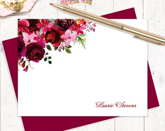 personalized note cards - BURGUNDY and RED watercolor ROSES - set of 12 flat note cards - choose envelope color - custom flower cards