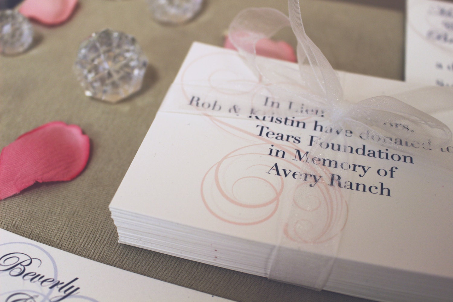 Donation cards in lieu of favors charity 4 bar cards