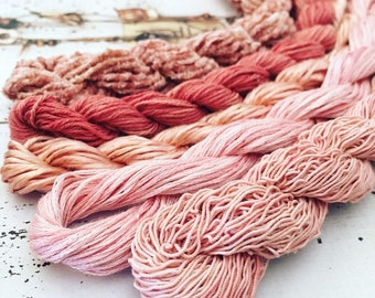 5 Skeins of Madder Dyed Cotton, Silk and Cotton Embroidery Threads for Needlework, Embroidery and Cross Stitch.