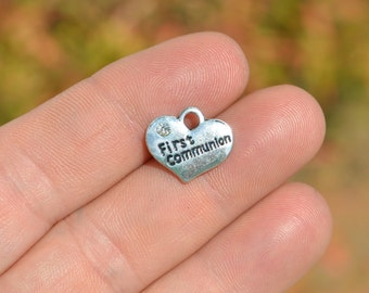 5 Silver First Communion Heart Shaped Charms SC3379