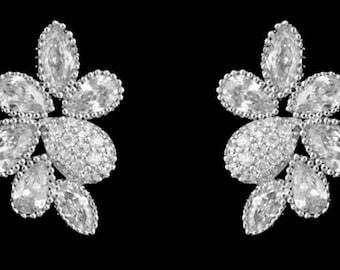 "New CZ Austrian CZ A+++ Crystal Petal 1 "" Pierced Earring"