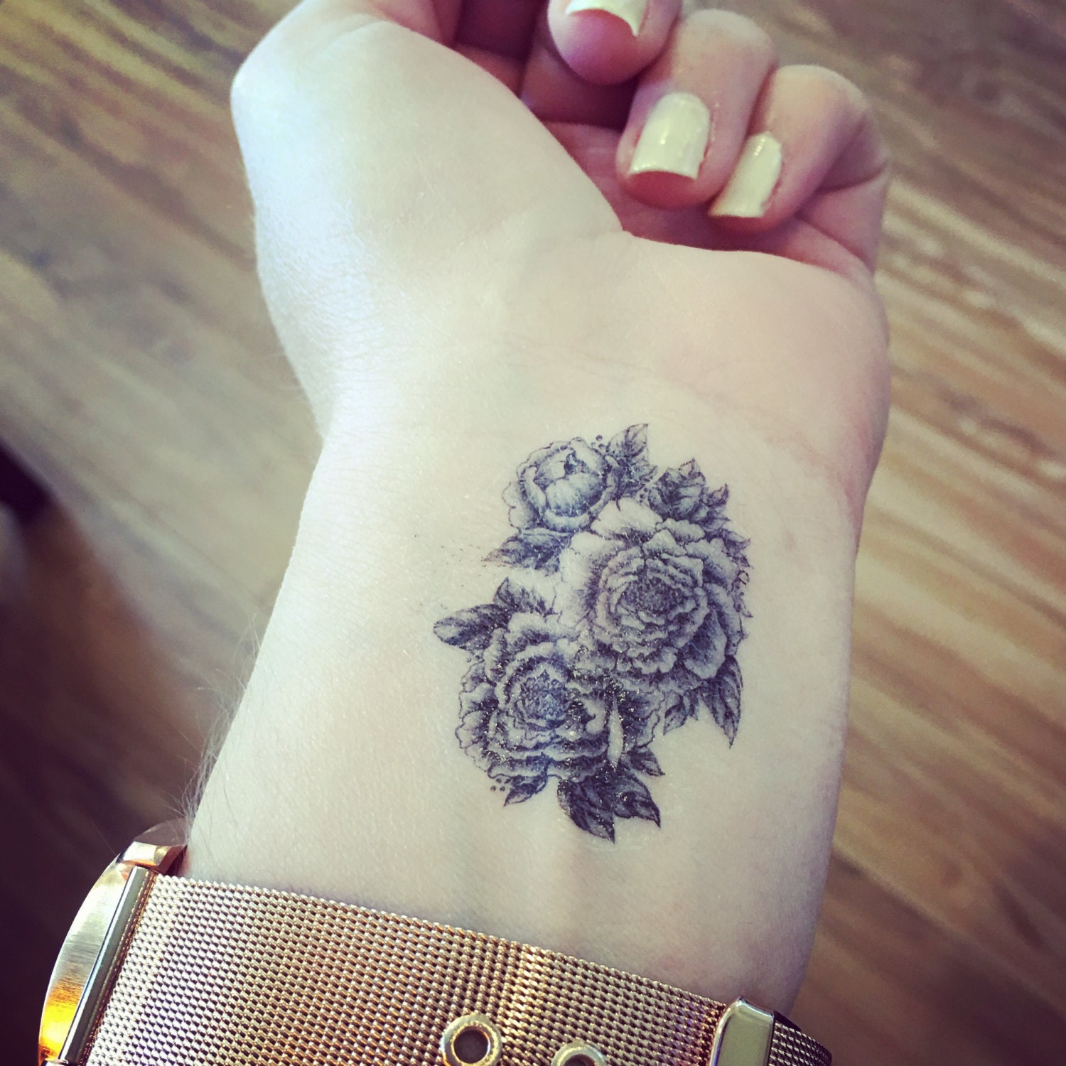 Temporary tattoo floral peony tattoo floral tattoo for Wash off temporary tattoos