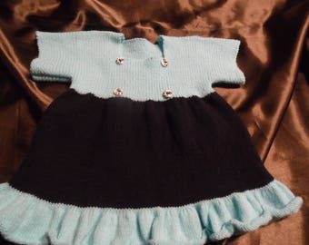 Knit Navy Blue and Turquoise size 6 months baby dress