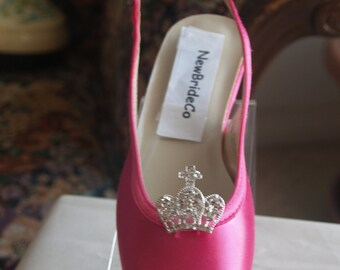 Hot pink shoes etsy princess hot pink shoes flower girls shoes crown crystals brooches shoes many color shoes mightylinksfo Choice Image