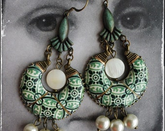 Earrings Tile Portugal Azulejo Chandelier  Ilhavo, SAGE Green Portuguese Pearls - Ships from USA Gift Box Included
