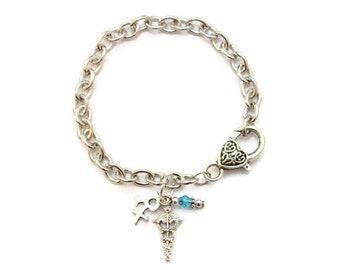 RX Pharmacist Caduceus Charm Bracelet With Coordinating Glass Bead