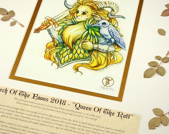 Queen Of The Rott Story Edition- MarchOfTheFauns 2018 Limited Edition Double Matted Faun Print with Story Scroll