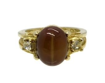 Tiger Eye Ring, Vintage Gold Plated , signed Uncas Tiger Eye & Rhinestone Ring, Size 5